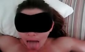 Blindfolded amateur wife waiting for her facial