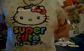 Teen emo girl with small tits in Hello Kitty shirt